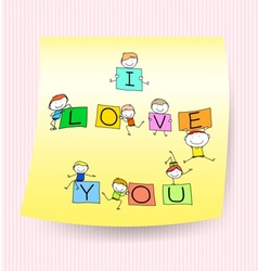 Happy kids hand drawing character with love words vector