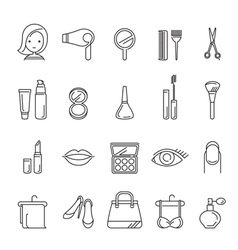 Ladies fashion cosmetics and beauty linear icons vector