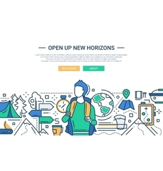 Open up new horizons - line design website banner vector