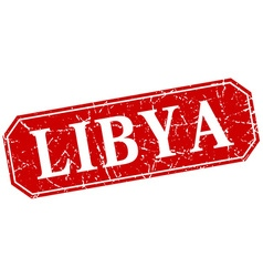 Libya red square grunge retro style sign vector
