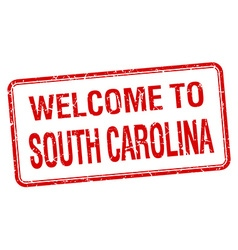 Welcome to south carolina red grunge square stamp vector