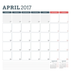 Calendar planner template for april 2017 week vector