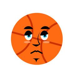 basketball sad emoji ball sorrowful emotion vector image