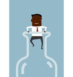 Black american businessman inside a bottle vector image vector image