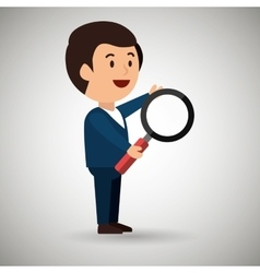 businessman with magnifying glass isolated icon vector image