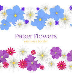 colorful paper flowers horizontal seamless vector image vector image