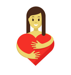 cute girl hugging red heart flat vector image vector image