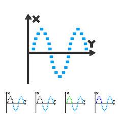 Dotted sinusoid plot flat icon vector