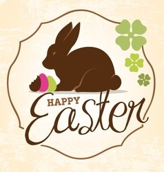 Easter Greeting Card with Rabbit in Vintage Style vector image vector image