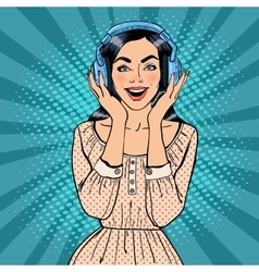 Excited young woman listening music vector