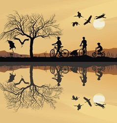 family trip to bike vector image vector image