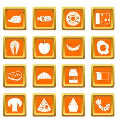 Food icons set orange vector