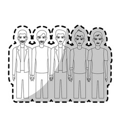 Group of handsome young men icon image vector