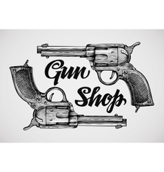 Hand-drawn pistols Gun shop Sketch revolver vector image