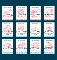 hand drawn seafood product poster set vector image vector image