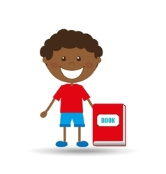 happy boy student red book graphic vector image vector image