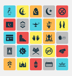 Holiday icons set collection of ramadan islam vector