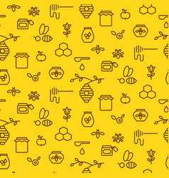 Honey outline yellow icon seamless pattern vector