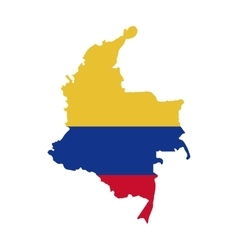 Map with colors colombian flag vector