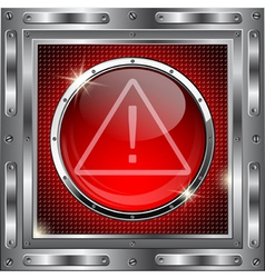 Metal background with red glass button vector image