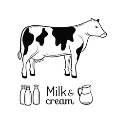 Milk and cream emblems set vector