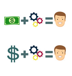 money and brains make you happy set vector image vector image