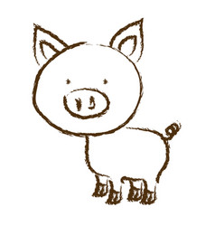 Monochrome hand drawn silhouette of pig vector