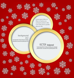 Red background with snowflakes in circles in a vector