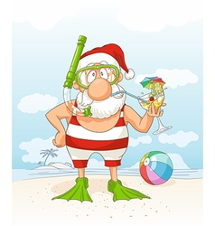 Santa Claus on Summer Holiday Cartoon vector image vector image