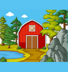 scene with red barn by the pond vector image