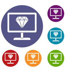 Screen with diamond icons set vector