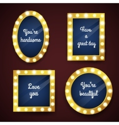 Set of mirrors with electric bulbs vector
