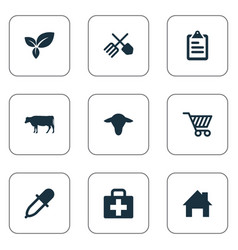 Set of simple harvest icons vector