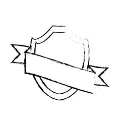 shield with ribbon emblem sketch vector image vector image