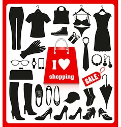 Shoping background set vector image