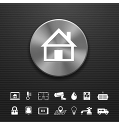 Smart home automation technology metal button vector
