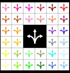 Three-way direction arrow sign felt-pen vector