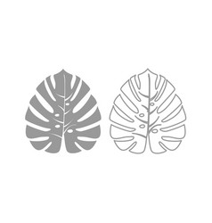 tropical leaf icon grey set vector image vector image