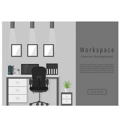 web design banner of modern office workspace vector image