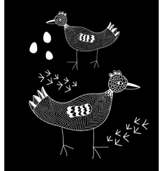 White line bird on the black background vector