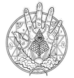 with hand palm and mystic symbols vector image vector image