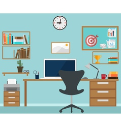 Workspace interior with office objects vector image vector image