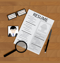 write resume on table vector image vector image