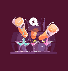 Young bartender pouring drinks vector
