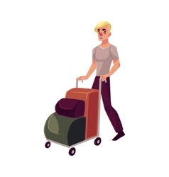 Young man pushing airport trolley with luggage vector