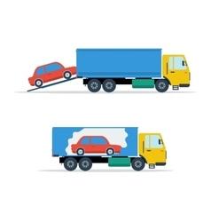 Small avto loading into truck vector