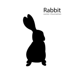 Rabbit black silhouette isolated vector