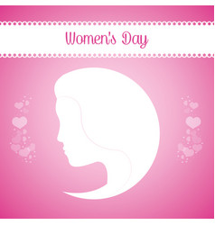 Womens day girl silhouette pink background vector