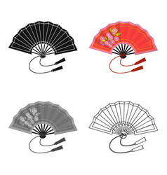 folding fan icon in cartoon style isolated on vector image