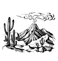 sketch landscape volcanic eruption vector image